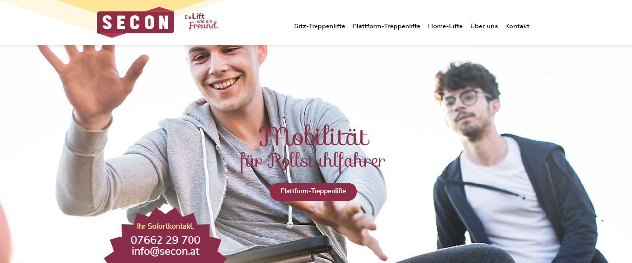 SECON Treppenlifte Homepage